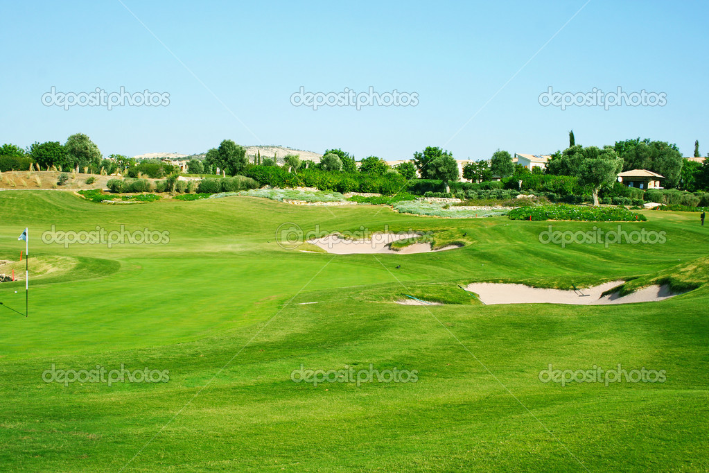 Golf field in Cyprus mountain village. — Zdjęcie stockowe #10747165