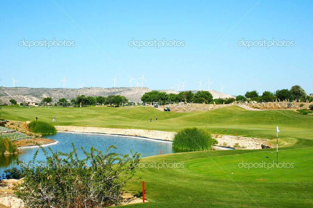 Golf field in Cyprus mountain village. — Stock Photo #10747236