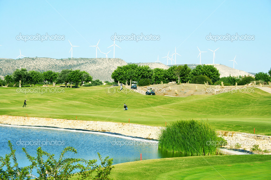 Golf field in Cyprus mountain village.  Stock Photo #10747259