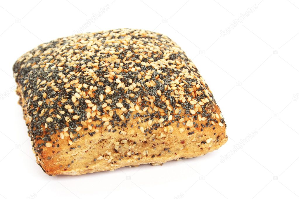 Bread with sesame and poppy seeds isolated on white background. — Stock Photo #10758406