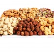 Nuts on white — Stockfoto