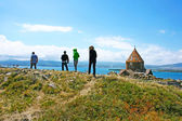 Sevanavank and lake Sevan — Stock Photo