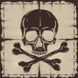 Skull and Crossbones over old damaged map - Stock Vector