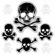 Stock Vector: Set of Skulls with Crossbones