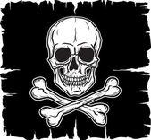 Calavera sobre bandera negra — Vector de stock