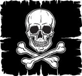 Skull and Crossbones over black flag — Vector de stock
