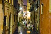 Small venetian canal at night — Stock Photo