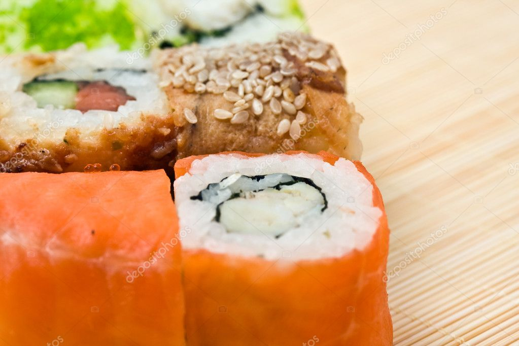 Traditional Japanese food Sushi, close-up — Stock Photo #11765135