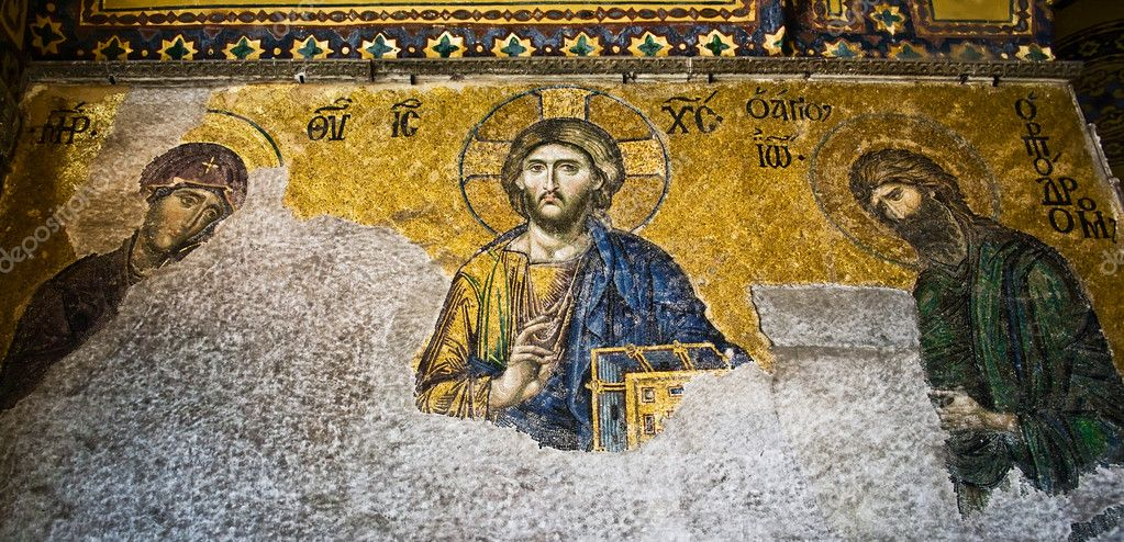 Mosaic of Jesus Christ in Hagia Sofia, Istanbul, Turkey — Stock Photo #11805543