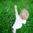Cute child playing in green grass — Stock Photo