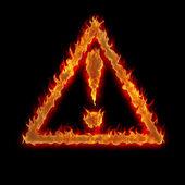 トライアングル注意標識火ブラック — ストック写真