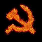 Burning soviet union ussr fire sign on black — Stock Photo