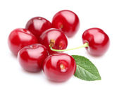 Sweet cherry with leaf — Stock Photo