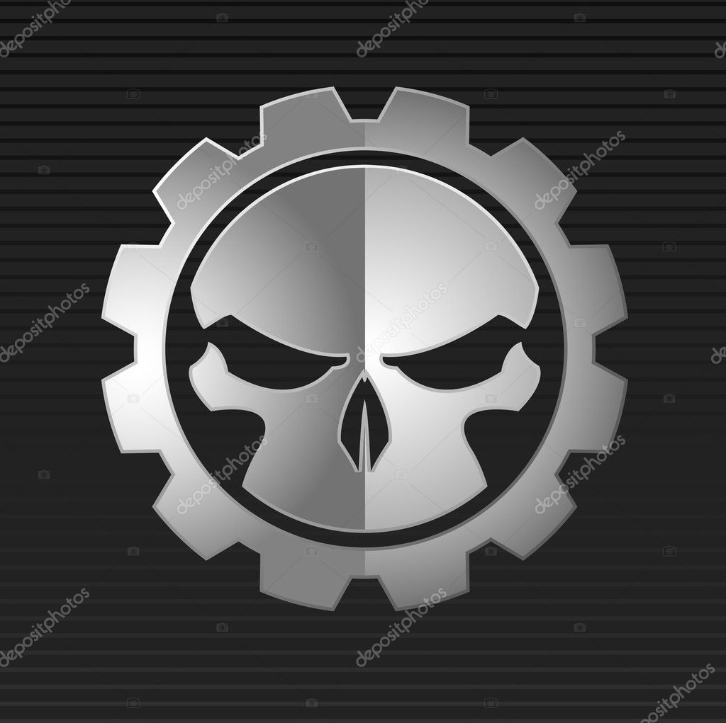 Vector illustration of evil metal skull over gray background — Stock Vector #11308995