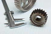 Gears and caliper — Stock fotografie