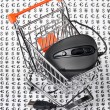 Computer mouse  in a shopping trolley - Foto Stock