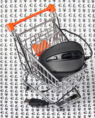 Computer mouse in a shopping trolley — Stock Photo