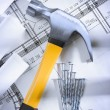 Stock Photo: Claw hammer and nails with blueprints