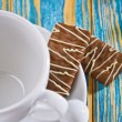 Empty coffee cup and cookie — Stock Photo
