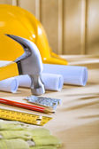 Composition of carpentry tools on woden table — Stockfoto