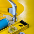 Repairing tools on yellow background — Stok fotoğraf