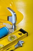 Repairing tools on yellow background — Stock Photo