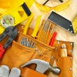 Big composition of working tools on wooden boards — Stock Photo