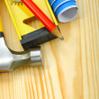 Stock Photo: Closeup working tools on wooden boards