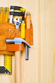 Copyspace image of tools on wooden table — Stock Photo