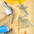 Composition of carpentry tools on wooden background — Stock Photo #11450890