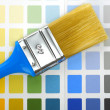Paintbrush on color palette - Foto Stock