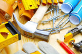 Big composition of construction tools — Stock Photo