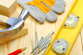 Building tools on table — Stock Photo