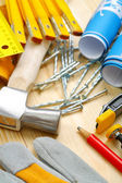 Vertical composition of construction tools — Stock Photo