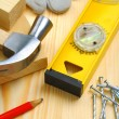 Construction tools and materials on table — Stock Photo