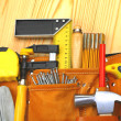 Set of carpentry tools - Stock Photo