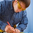 Worker with pencil — Stock Photo