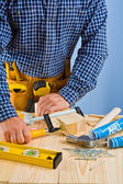 Close up view on the work of carpenter — Stock Photo