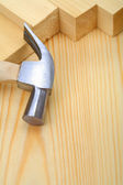 Copyspace image hammer on timber — Stock Photo