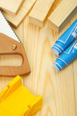 Saw blueprints timber — Stock Photo