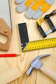 Zestaw narzędzi stolarskich desek — Zdjęcie stockowe
