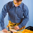 Carpenter works with carpenter vise — Stock Photo