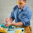 homens trabalha na marcenaria mashine — Foto Stock
