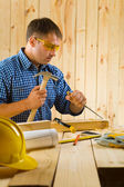 Carpenter wih chisel — Stock Photo