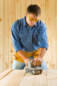 Men works with detail sander — Foto Stock