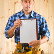 Royalty-Free Stock Photo: Worker with clipboard
