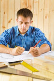 Carpenter in thinking — Stock Photo