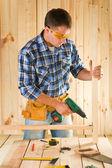Carpenter in work — Stock Photo