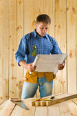 Carpenter with blueprint — Stockfoto