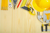 Copyspace of construction tools on wooden boards — Stock Photo